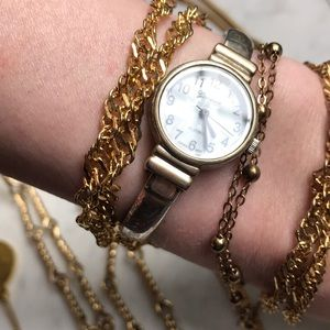Geneva distressed ghw pearl face dainty watch
